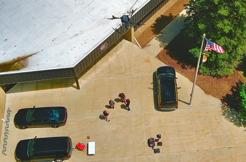 A drone is sent up into the air as part of Adorama Business Solutions' Drone Demos Days.